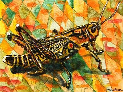 Glorious Grasshopper Art Print by Miriam  Schulman