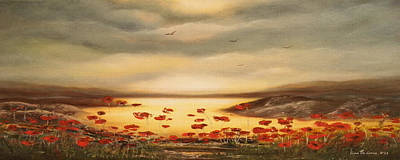 Painting - Glory - Panoramic Sunset by Gina De Gorna