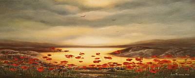 Painting - Glory - Panoramic Sunset by Gina De Gorna