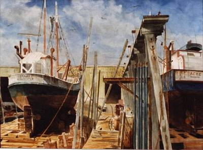 Tall Ships. Marine Art Painting - Gloucester Marine Railway by Phil Cusumano