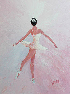 Glowing Ballerina Original Palette Knife  Art Print by Georgeta  Blanaru