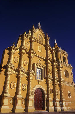 Photograph - Glowing Church Facade Leon Nicaragua by John  Mitchell
