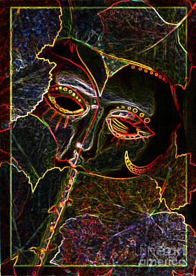 Digital Art - Glowing Mask With Leaves by Nareeta Martin