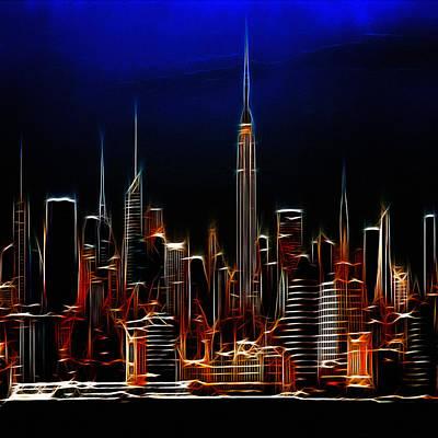 Nyc Digital Art - Glowing New York by Steve K
