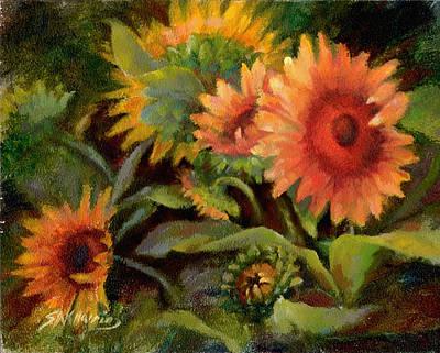 Glowing Sunflowers Art Print by Sharen AK Harris