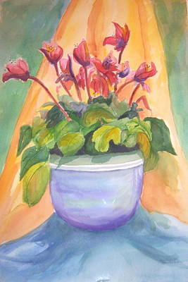 Gloxinias Painting - Gloxinias In A Bowl by Linda L Stinson