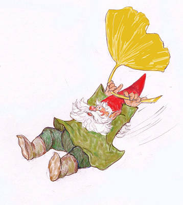 Gnome Digital Art - Gnome With Ginkgo Leaf by Peggy Wilson