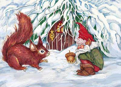 Squirrel Mixed Media - Gnome's Present by Peggy Wilson