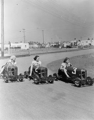 Go Go Cart Girls Print by General Photographic Agency
