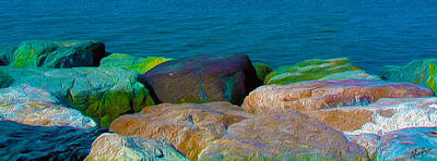 Goa Sea Front Rocks Print by Naresh Ladhu