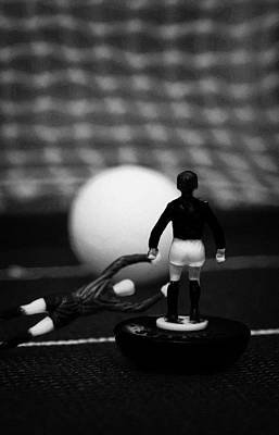 Goalkeeper Diving To Foul Player In The Box Football Soccer Scene Reinacted With Subbuteo  Art Print by Joe Fox