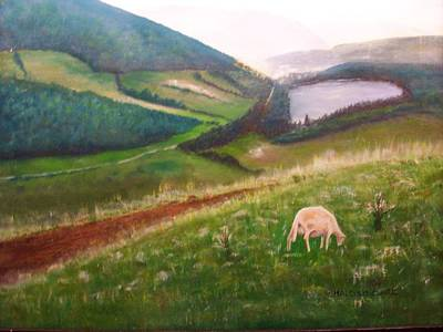 Goat On Welsh Mountain Print by Malcolm Clark