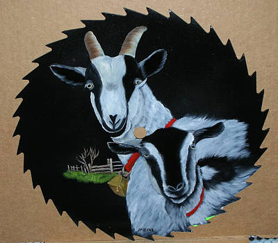 Saw Blades Painting - Goats by Darlene Prowell