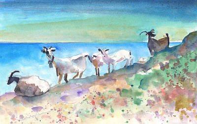 Mountain Goat Drawing - Goats In Agia Galini by Miki De Goodaboom