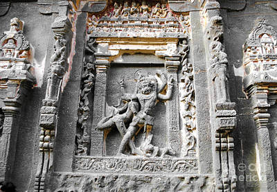 Ancient Photograph - God Carved At Elora Caves by Sumit Mehndiratta