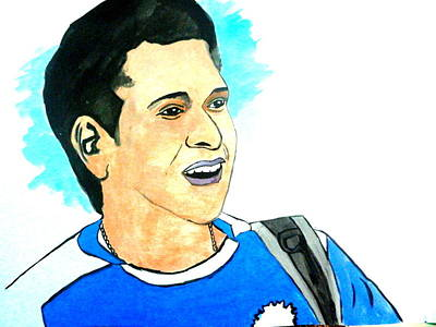 Sachin Painting - God Of Cricket-sachin by Poornima M