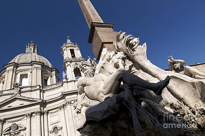 Statuary Photograph - God Of The River Ganges. Fontana Dei Quattro Fiumi. Piazza Navona. Rome by Bernard Jaubert