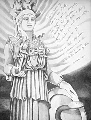 Drawing - Goddess Athena by Kyra Belan
