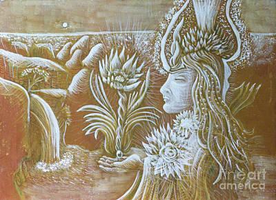 Egg Tempera Mixed Media - Goddess With Lotus by Evelyn Cammarano