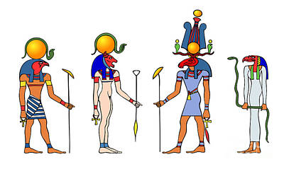 Sacred Art Drawing - Gods And Goddess Of Ancient Egypt by Michal Boubin