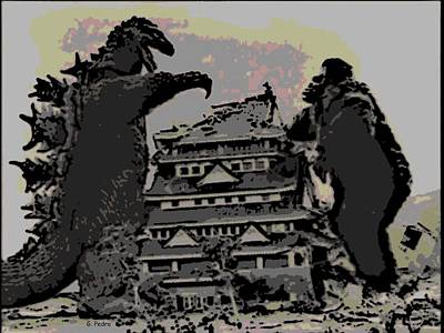 Photograph - Godzilla And King Kong Hanging Out In Tokyo by George Pedro