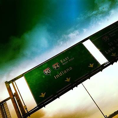 Skylines Wall Art - Photograph - Going Home. #indiana #signs #chicago by Nolan Marker