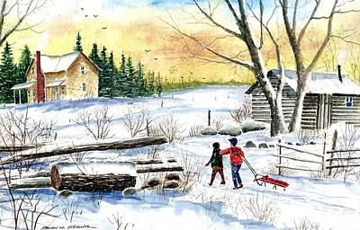 Going Sledding Painting By Steven W Schultz