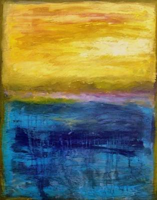 Waves Painting - Gold And Pink Sunset Ll by Michelle Calkins