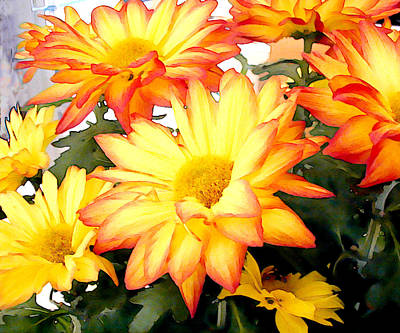 Mums Painting - Gold And Red Autumn Mums by Elaine Plesser