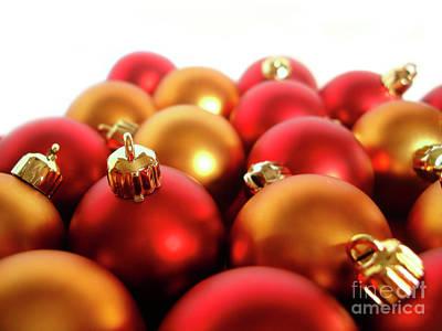 Gold And Red Xmas Balls Art Print by Carlos Caetano