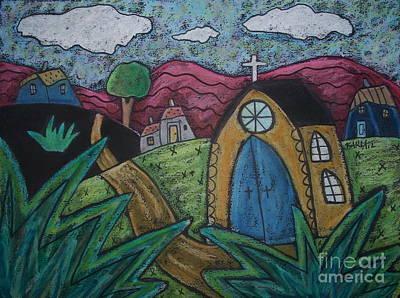 Oil Pastel Landscape Pastel - Gold Church by Karla Gerard