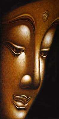 Gold Face Of Buddha Art Print by Karon Melillo DeVega