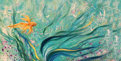 Painting - Gold Fish 24 by Gina De Gorna