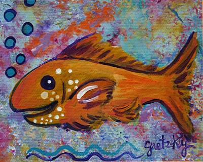 Koi Painting - Gold Fish by Paintings by Gretzky