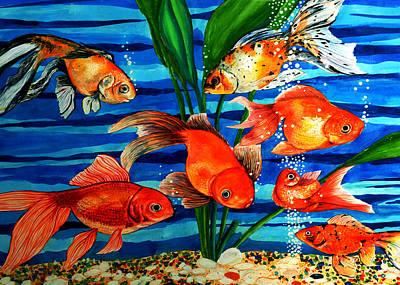 Gold Fishes Art Print by Johnson Moya
