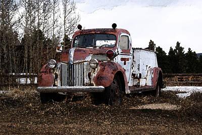 Wall Art - Digital Art - Gold Hill Fire Truck by Bill Kennedy