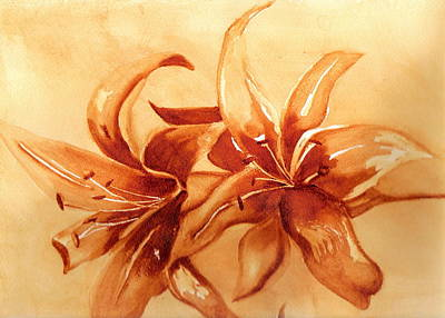 Painting - Gold Lilies by Marsha Woods