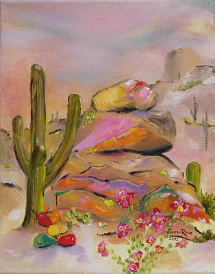 Gold-lined Rocks Art Print by Judith Rhue
