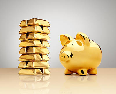 Gold Piggy Bank Beside A Stack Of Ingots Print by Anthony Bradshaw