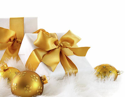 Gold Ribboned Gifts With Christmas Balls  Art Print by Sandra Cunningham