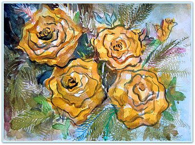 Gold Roses Art Print by Mindy Newman