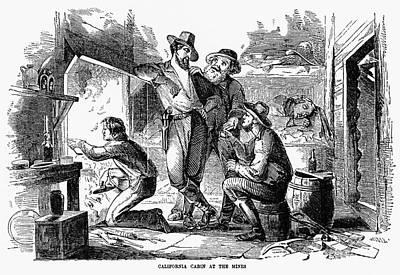Gold Rush: Cabin, 1856 Art Print by Granger