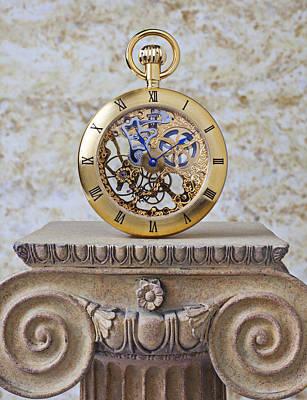 Gold Skeleton Pocket Watch Art Print by Garry Gay