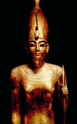 Gold Statue Of King Tutankhamun Art Print by Everett