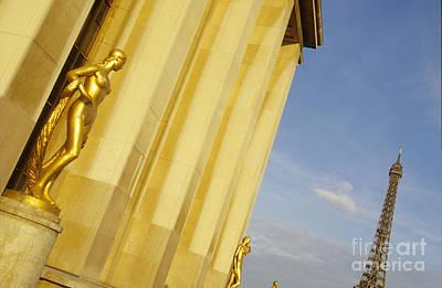 Gold Statue . Trocadero. Paris Art Print by Bernard Jaubert
