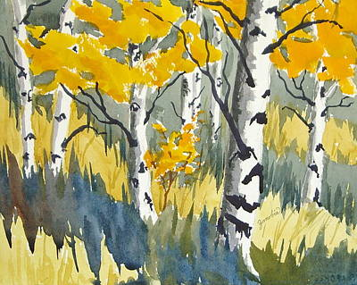 Painting - Golden Aspen Meadow by Zanobia Shalks