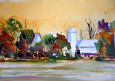 Barn Drawing Drawing - Golden Autumn Farm by Mindy Newman