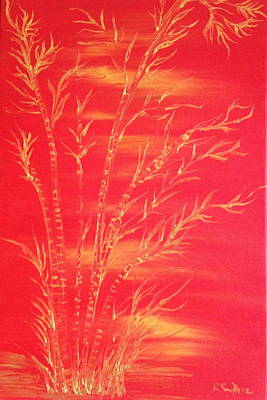 Painting - Golden Bamboo 2 by Pretchill Smith