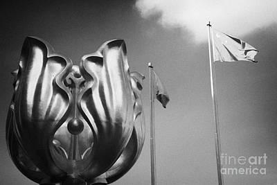 Wan Chai Photograph - Golden Bauhinia Sculpture In Square Wan Chai Hong Kong Hksar China Asia by Joe Fox