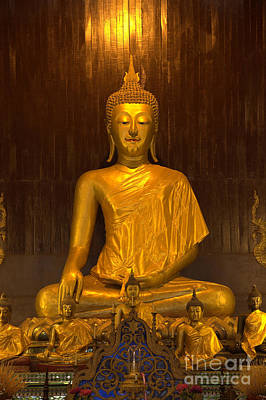 Golden Buddha Statue  Art Print by Anek Suwannaphoom
